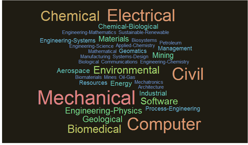 A word cloud created using undergraduate engineering disciplines listed on Canadian university websites (Sri Ray-Chauduri)