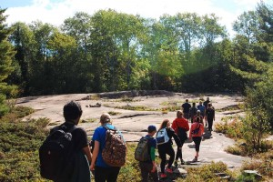 Students from Laurentian University's School of the Environment taking a hike at Killarney Provincial Park. Photo credit: Catherine Lau.