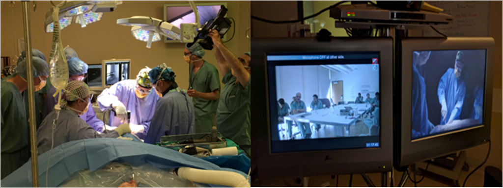 Dr. Timothy Daniels performing ankle replacement surgery (left), while a group of international surgeons observe via a live videoconference (right). Credit: St.Michael's Hospital (Photo on right by Mark Kinach)—used with permission.