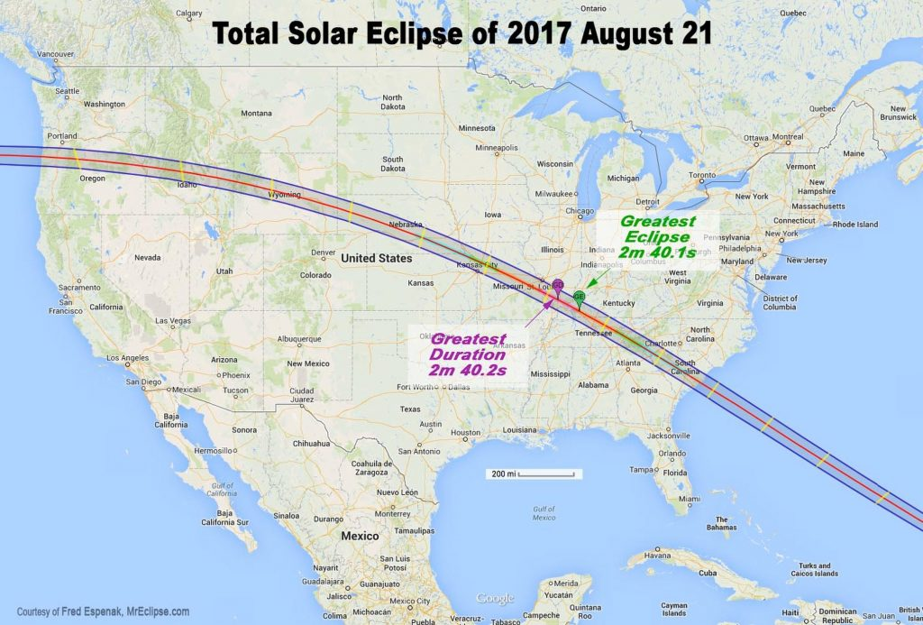 Map of eclipse path across US