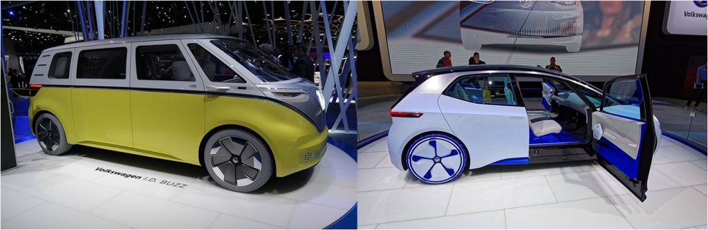 Volkswagen electric concept cars. The image on the left is a the self-driving I.D. Buzz (inspired by Volkswagen Type 2 or Microbus) presented at 2017 Geneva Motor Show and the image on the right is the self-driving I.D. Concept (inspired by Volkswagen Golf) presented at the 2016 Paris World Motor Show.