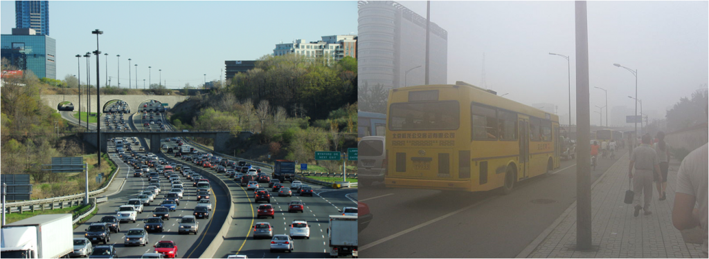 The image on the left shows traffic congestion on the Don Valley Parkway in Toronto, Canada, and the image on the right shows people walking in smog and traffic in Beijing, China.