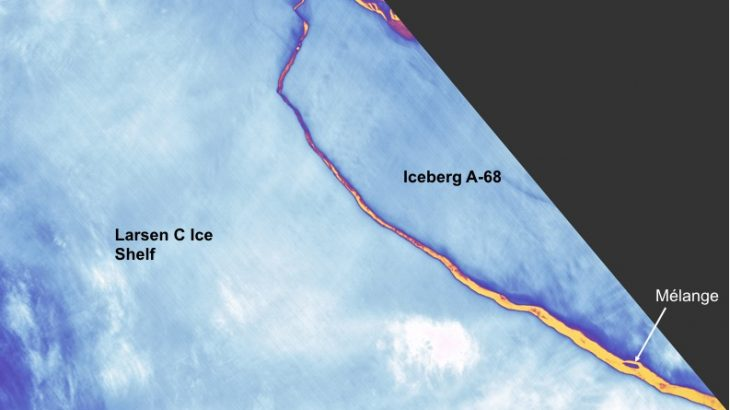 Landsat spots birth of Iceberg A-68, Antarctica. Image acquired July 12, 2017. (Landsat imagery courtesy of NASA Goddard Space Flight Center and U.S. Geological Survey)