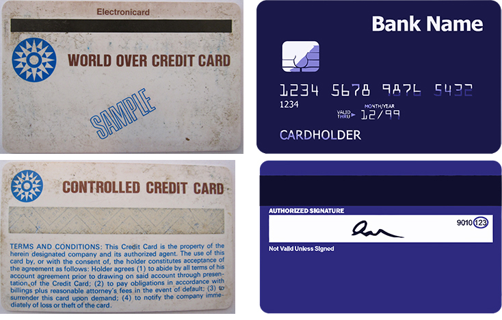 L-CC-BY-SA_Arthahn_(Left) Both sides of one of the first magnetic stripe credit cards; (Right) Both sides of a current credit card with chip, stripe, and signatureR-CC0