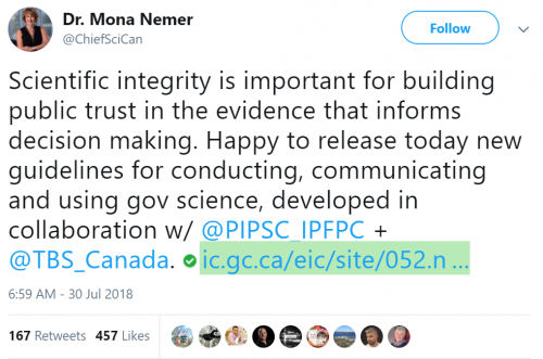 Tweet from Mona Never re: science integrity policy