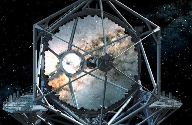 The TMT mirror is segmented and comprises 492 hexagonal segments. Credit: TMT International Observatory