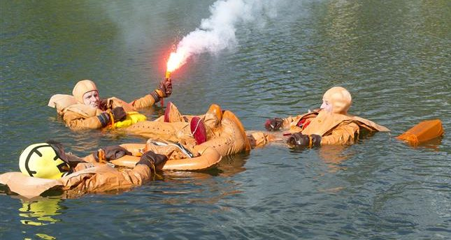 The crew participated in water survival training