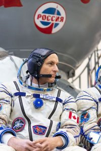 Canadian astronaut David Saint-Jacques in his Sokol flight suit