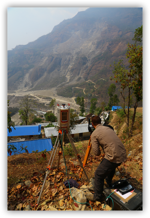 Jesse Mysiorek conducting fieldwork on the Jure Nepal Landslide