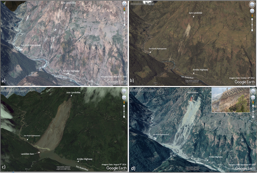 Jure landslide timelapse 2004-2017