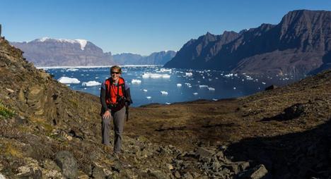 Sarah Hewett standing on a glacier